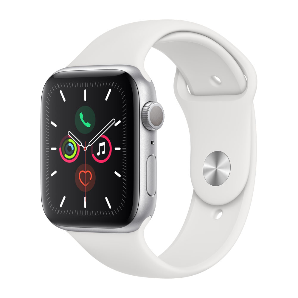 Apple Watch Series 5 44mm Zilverkleurig aluminium – Wit sportbandje