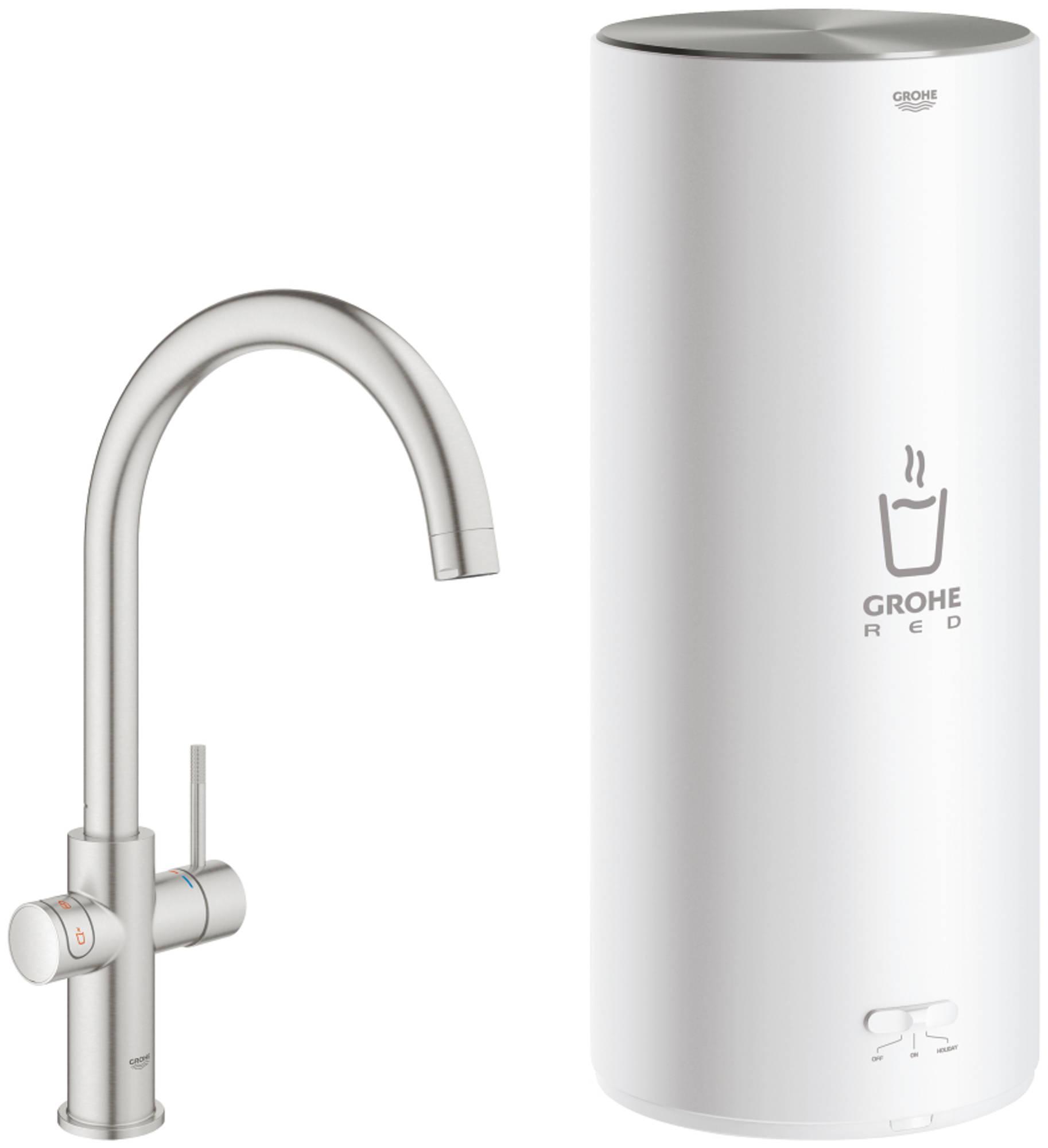 Grohe Red New Duo kokend water kraan met C-uitloop en Combi boiler supersteel