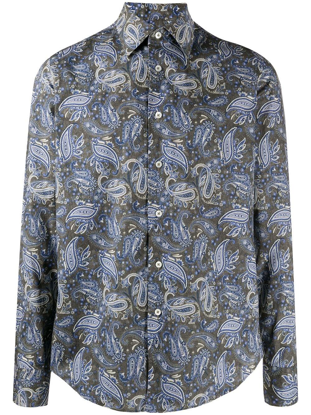 Dell'oglio Overhemd met paisley-print – Blauw