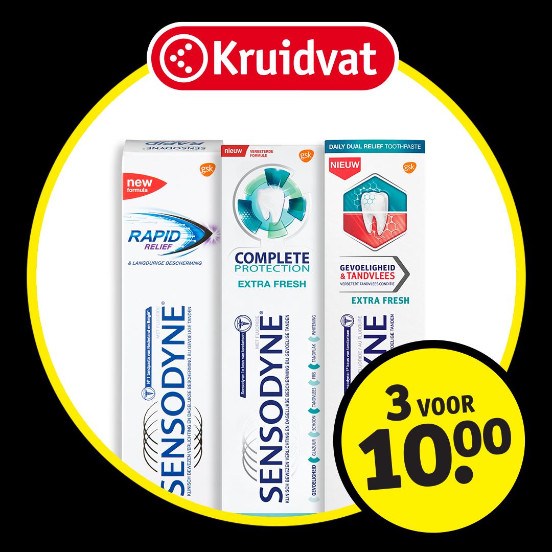 Sensodyne tandpasta, 3 voor €10,-