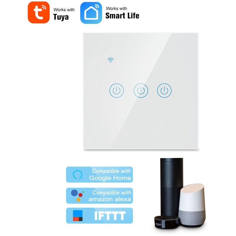 Smart Wifi Tactile Switch 3 Panneau De Verre Gang Mobile App Tuya / Touch Control Hub Aucune Minuterie Requis Compatible Avec Google Accueil / Nest
