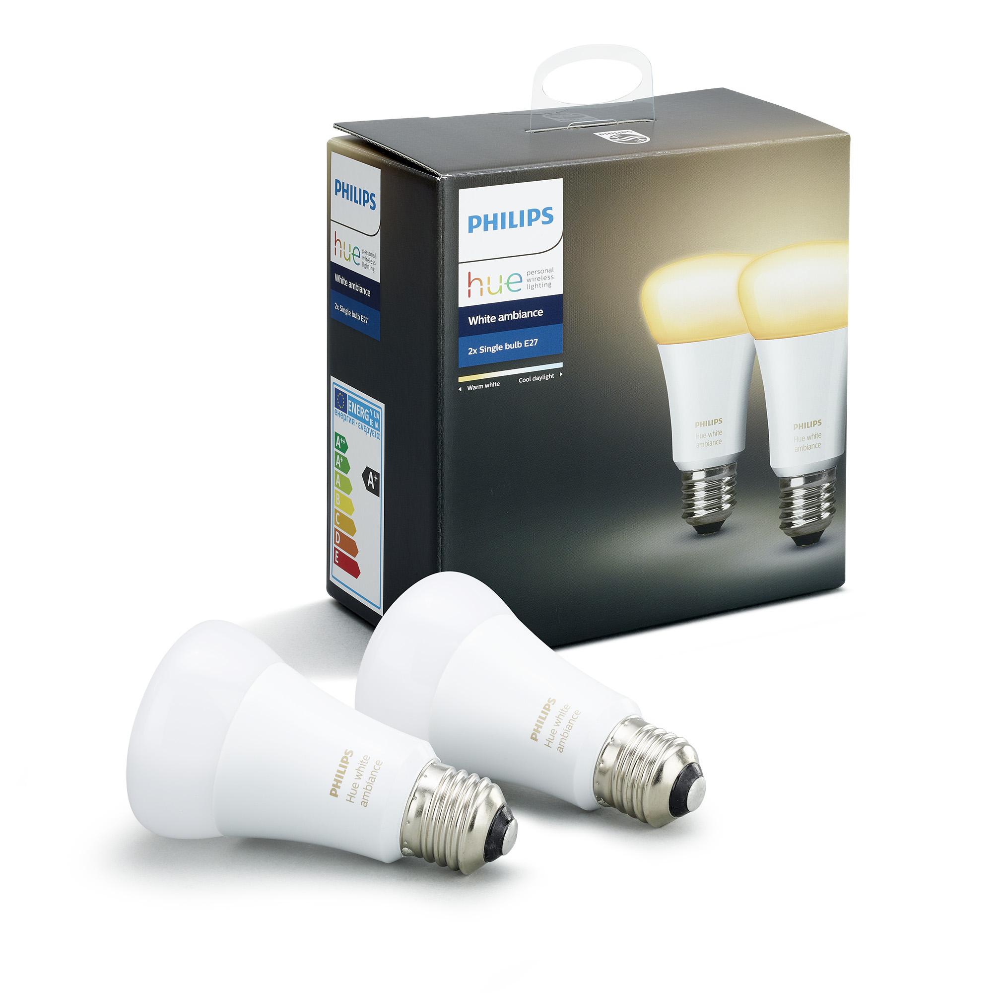Philips Hue lamp standaard wit Ambiance E27 2 stuks