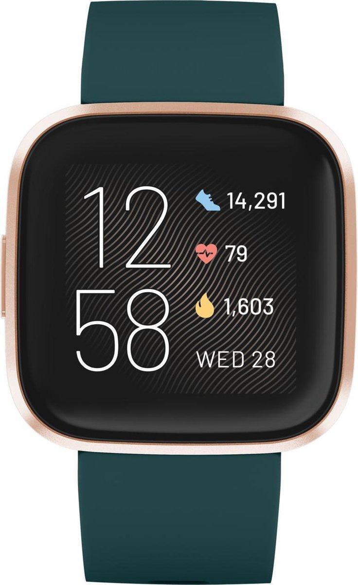 Fitbit Versa 2 – smartwatch – Groen met gouden rand