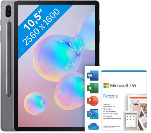 Samsung Galaxy Tab S6 128GB Wifi + 4G Grijs + Microsoft Office 365