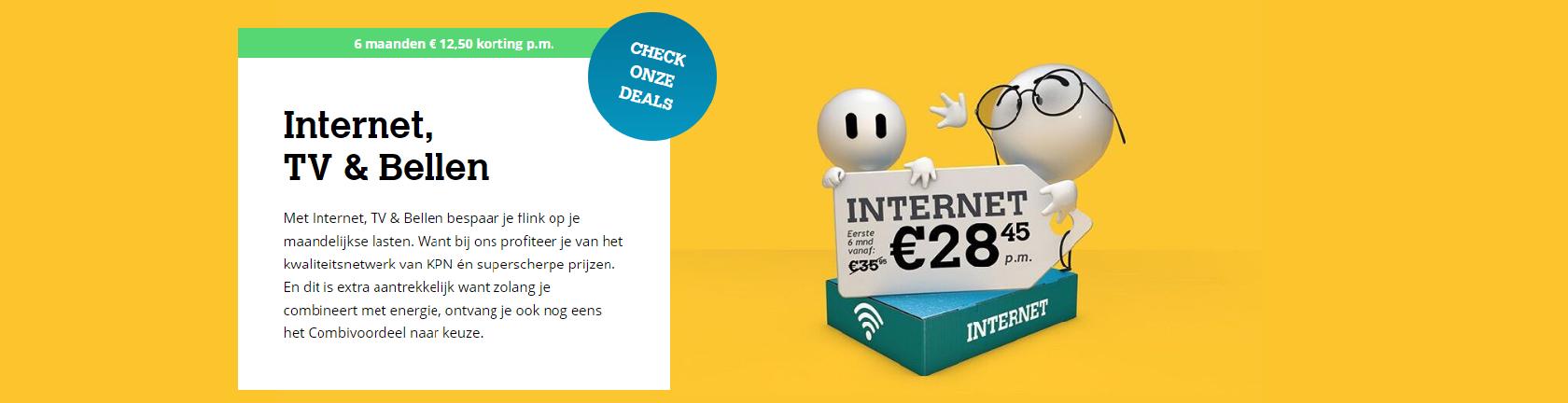 Internet, TV & Bellen uitleg gele achtergrond 2 emoticons