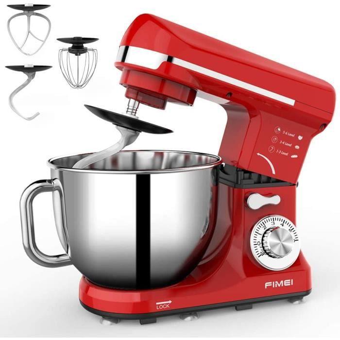 Robot Pâtissier Fimei 1000w-Robot cuisine-Mélangeur de cuisine-6 vitesses-Batteur électrique Bol 5L Rouge