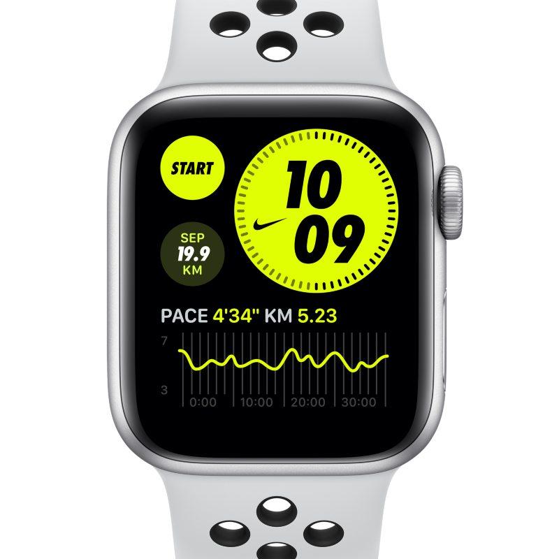 Apple Watch Nike SE (GPS) met sportbandje van Nike- Kast van zilverkleurig aluminium (40 mm) – Grijs