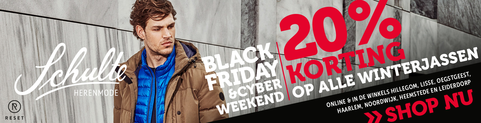 Schulte Herenmode Black Friday & Cyber weekend 20% korting op alle winterjassen. Shop nu