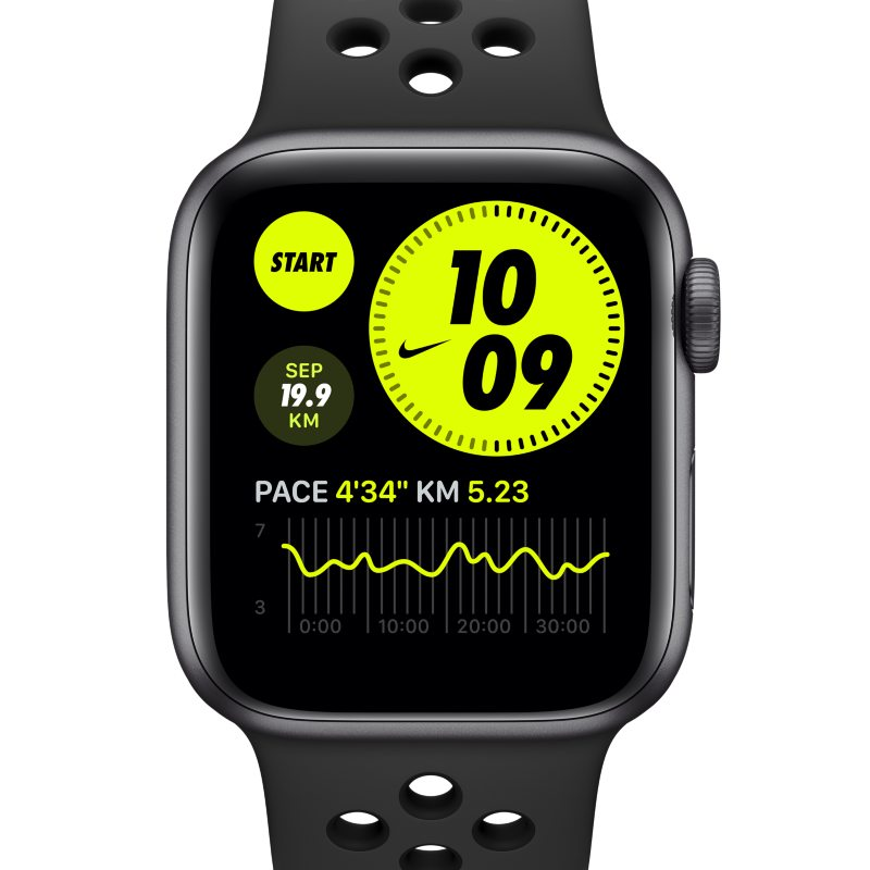 Montreà boîtier en aluminium gris sidéral 40 mm Apple Watch Nike Series 6 (GPS) avec Bracelet Sport Nike – Gris