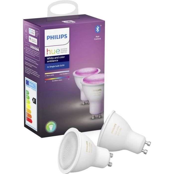 2 ampoules LED 2x GU10 Philips Lighting White and Color Ambiance 929001953102 blanc 2 pc(s)