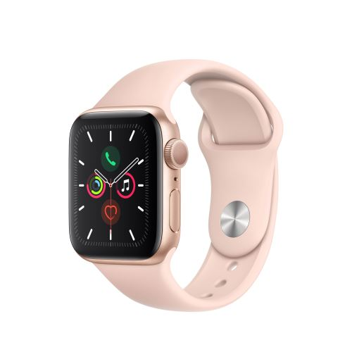 Apple Watch Series 5 GPS 40mm Behuizing in Aluminium Goud met Sport Armband Roos