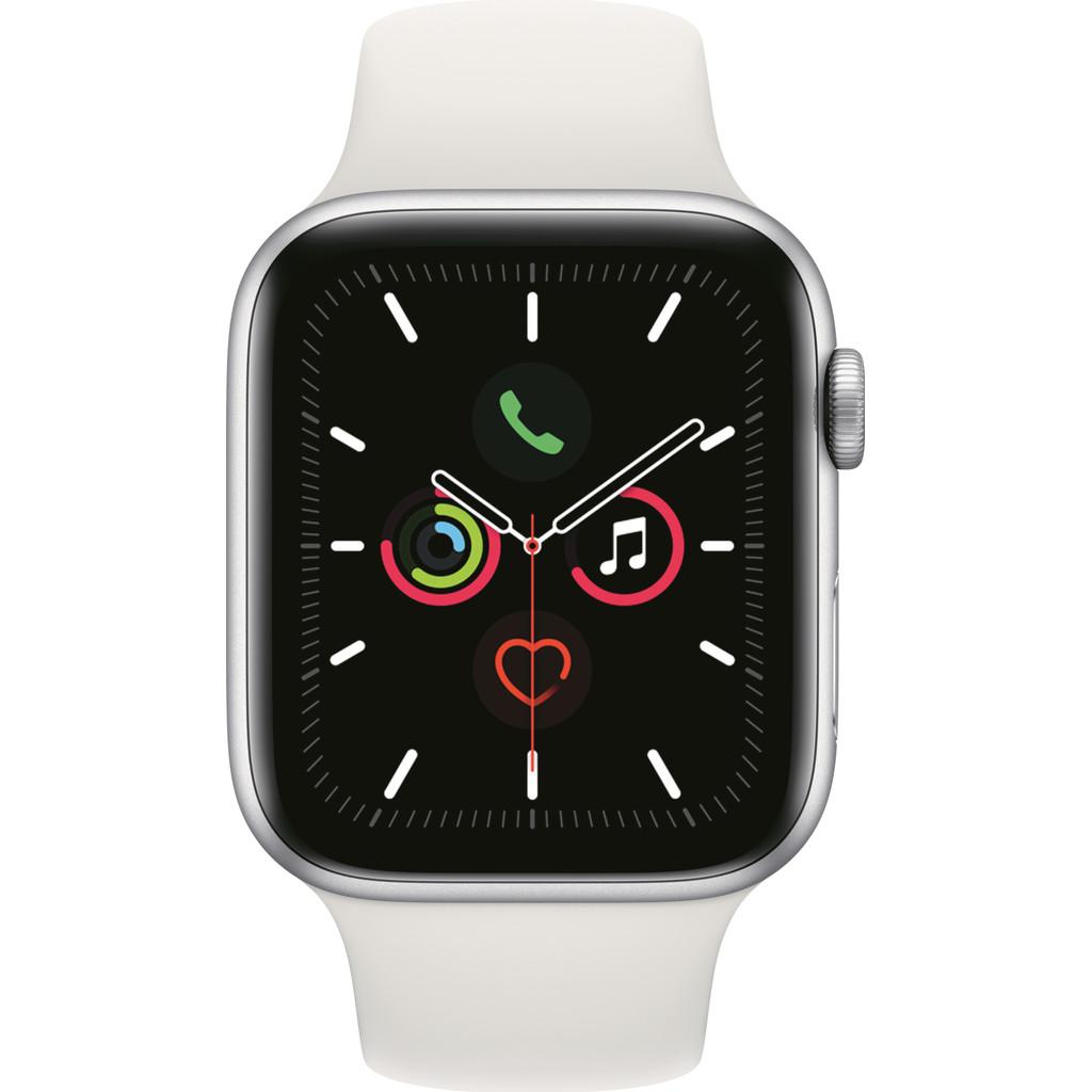 Apple Watch Series 5 44mm Zilver Aluminium Witte Sportband