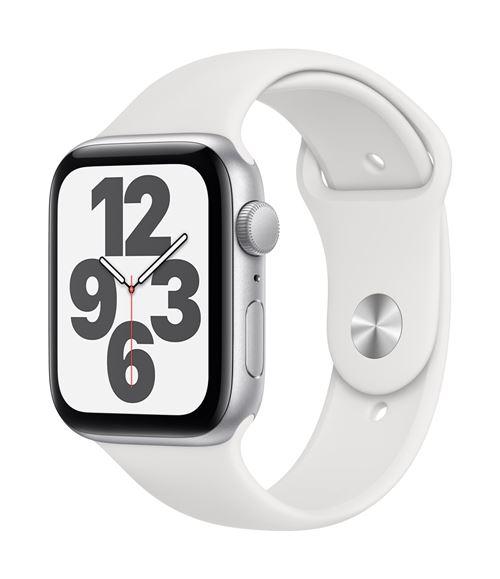 Apple Watch SE GPS, 44 mm kast van zilverkleurig aluminium met witte sportband