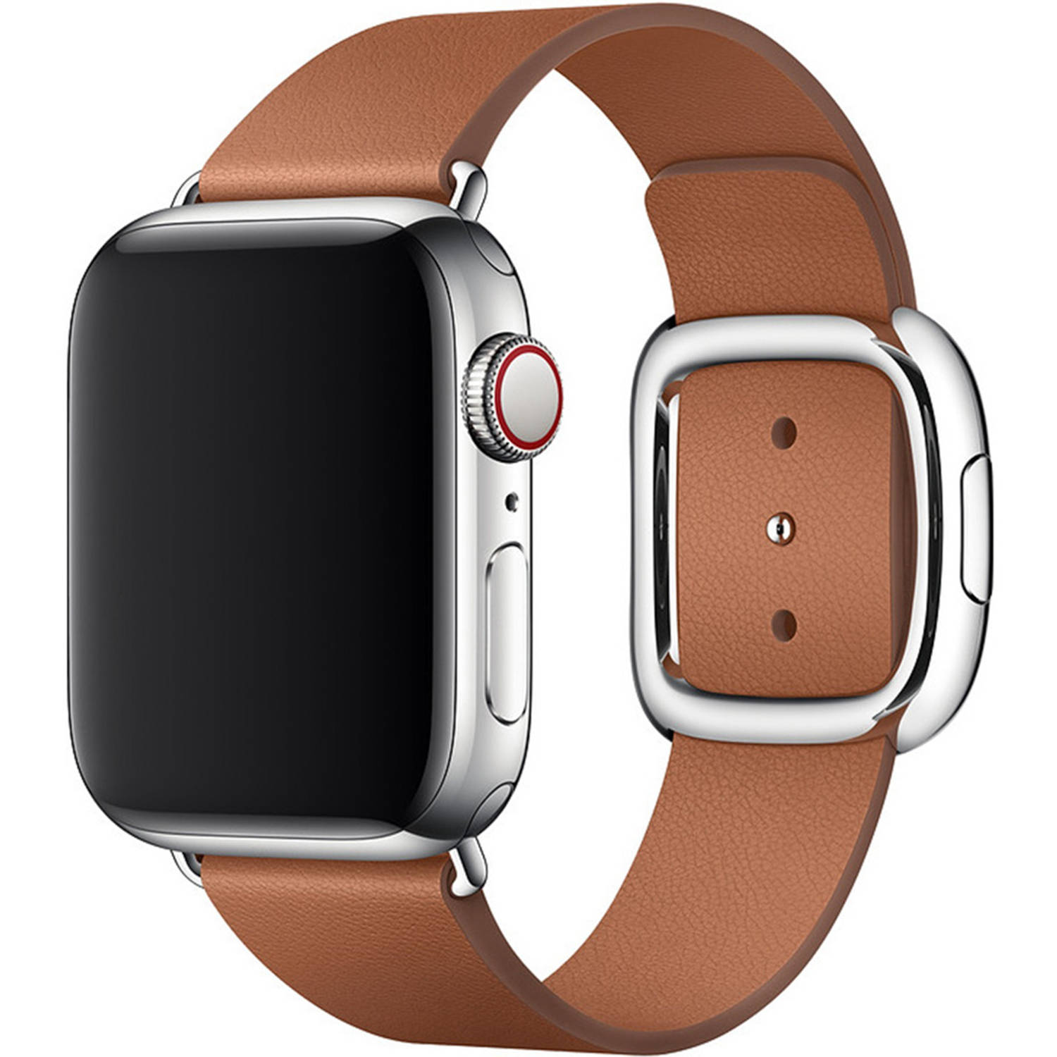 Leather Band Modern Buckle M Voor Apple Watch Series 1 T/m 6 / Se – 38/40mm – Bruin