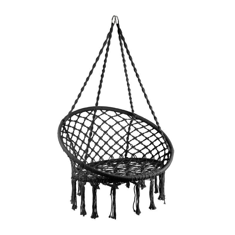 Hangstoel knoet – zwart – ⌀80×100 cm