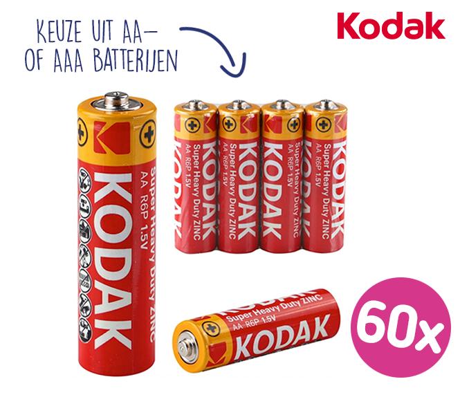 60-PACK Kodak ZINC Super Heavy Duty Batterijen | Kies uit AA- of AAA-batterijen