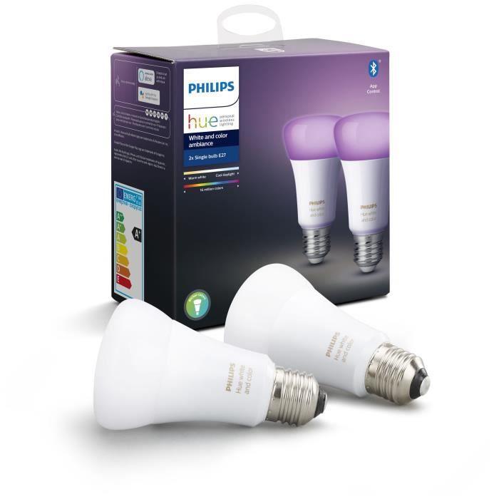 PHILIPS HUE Pack de 2 ampoules White & Color Ambiance – 10 W – E27 – Bluetooth