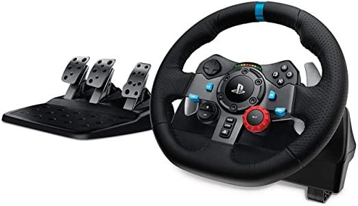 Logitech G29 Driving Force racestuur en voetpedalen, force feedback, roestvrijstalen versnellingsregelaars, leren stuur, verstelbare voetpedalen, EU-s