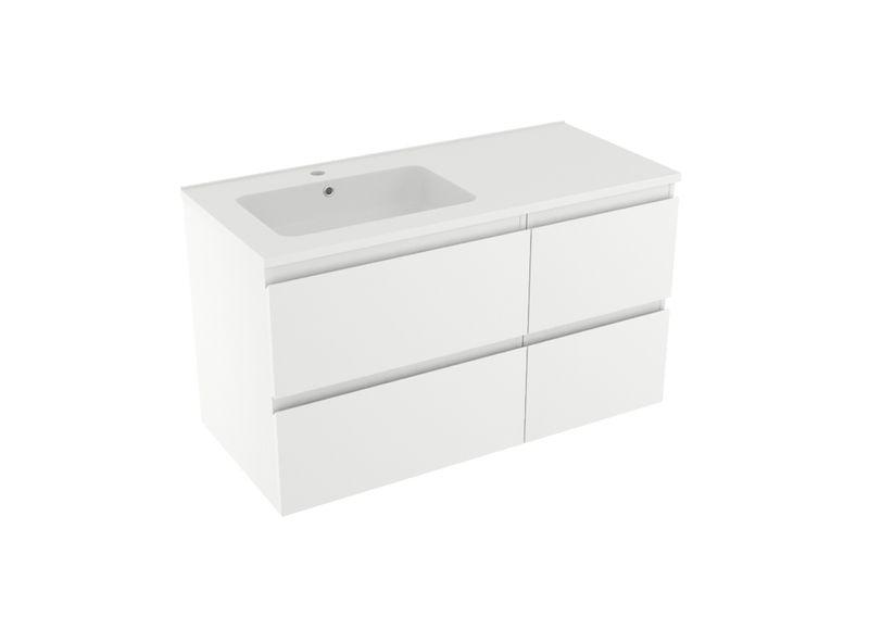 Linie Lado asymmetrische meubelset mat wit met Vano wastafel