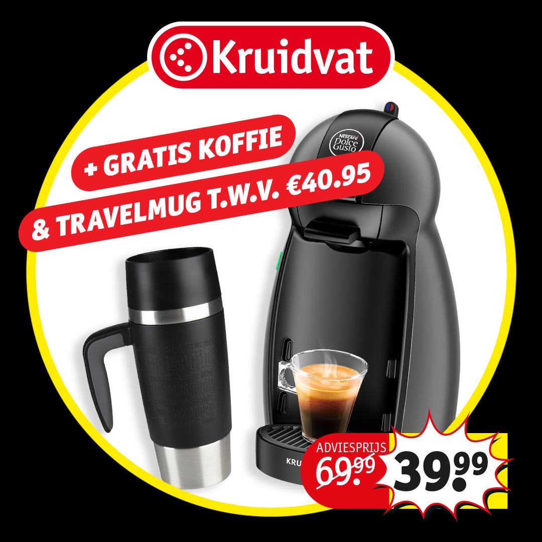 Dolce Gusto Picollo + gratis 3 bundlepacks koffie en travelmok t.w.v. 40.95