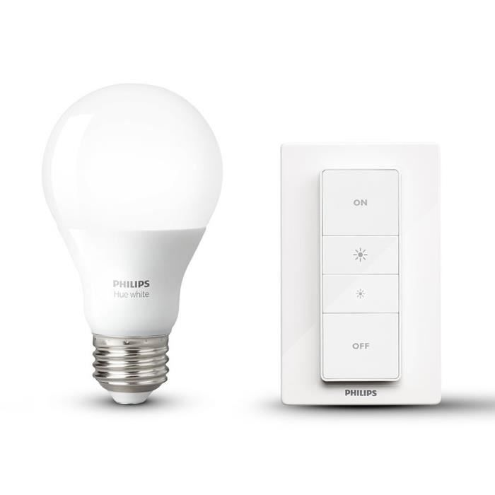 PHILIPS Hue Wireless Dimming Kit avec ampoule LED E27 60 W et télécommande