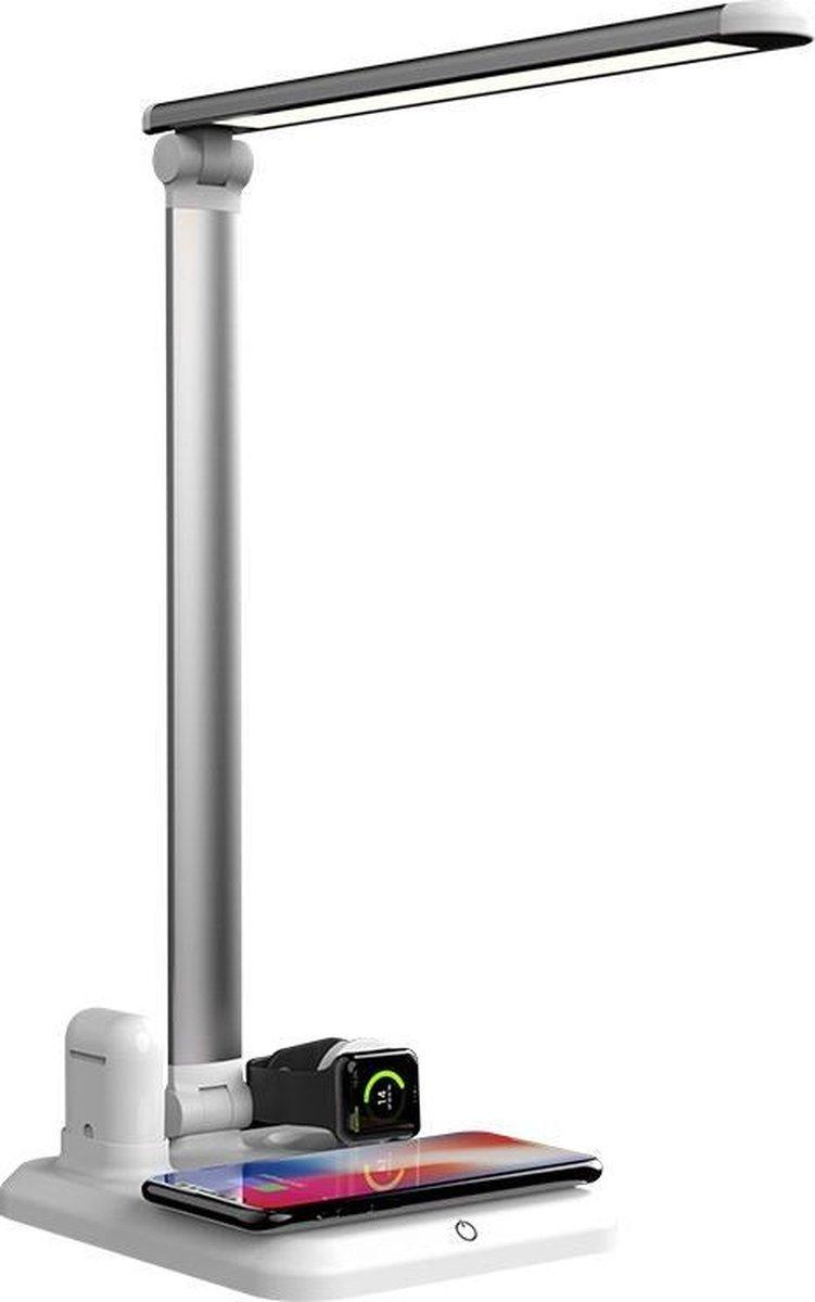Bureaulamp led- 4-in-1 LED Station-Draadloze Oplader voor Telefoon -Qi draadloos opladen -Bureaulamp led dimbaar-Nachtlamp-Leeslamp- Wireless Charger