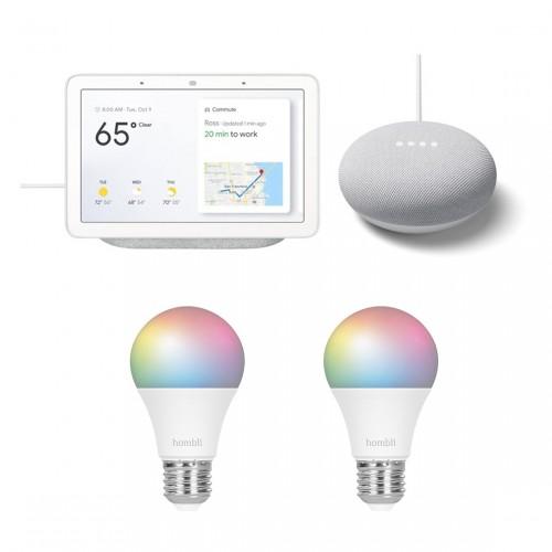 Google Nest Hub + Nest Mini + Hombli Smart Bulb E27 Colour 2-pack