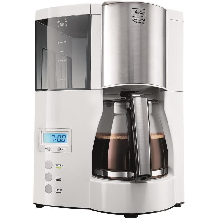 MELITTA 100801 Cafetière filtre programmable Optima Timer – Blanc