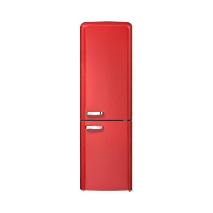 CHiQ Rétro réfrigérateur congélateur bas FBM250NE2R1 250L (180 + 70) Froid ventilé, No Frost, rouge, Style Vintage.
