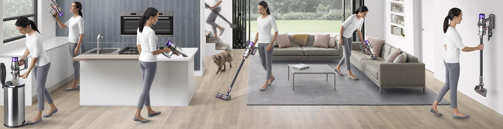 Dyson 6 foto's van een mevrouw waarin ze haar huis schoonmaakt met een Dyson apparaat