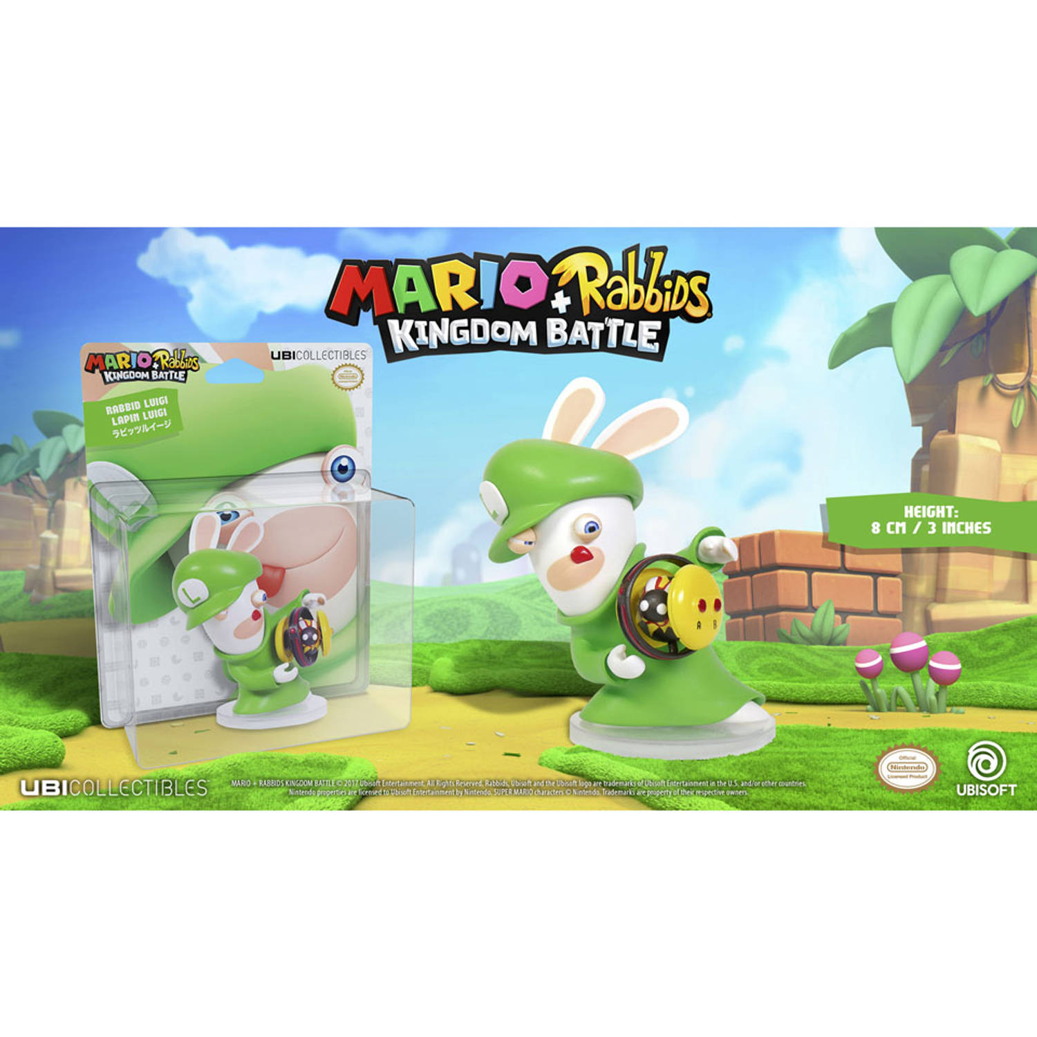 Mario + Rabbids Kingdom Battle – Rabbid Luigi Figuur – 8 Cm