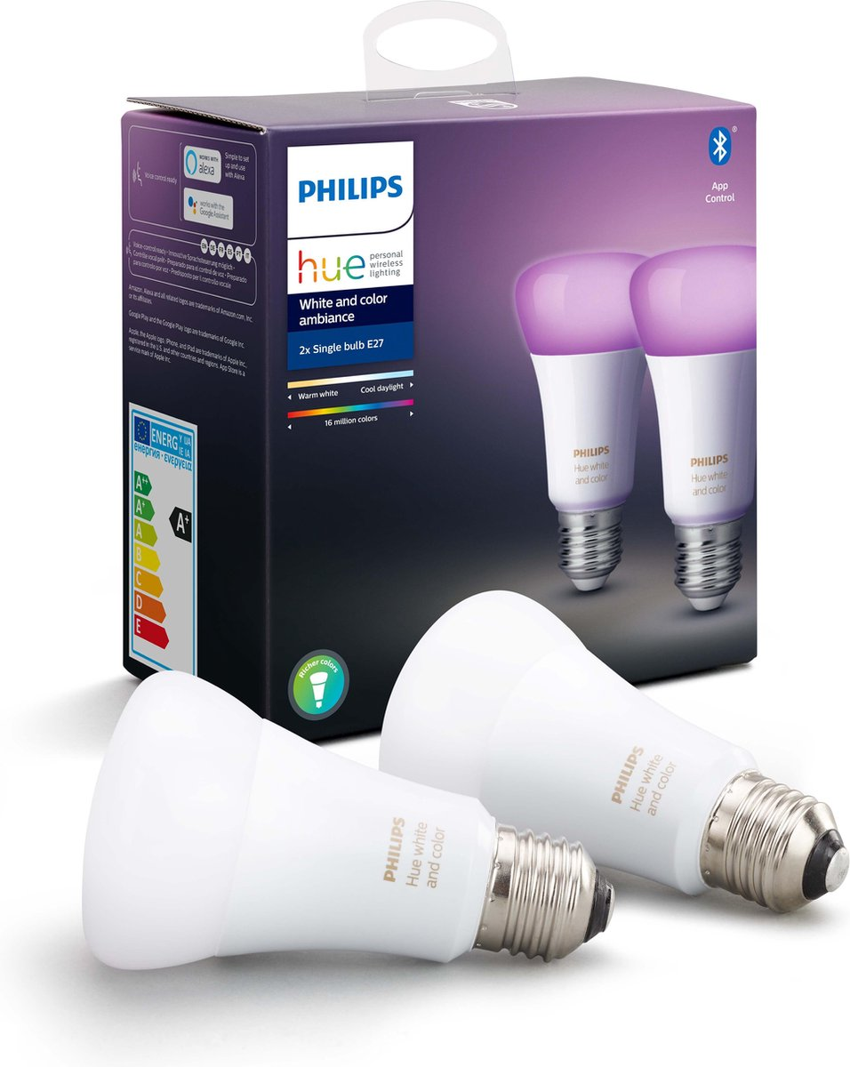 Philips Hue Lampen E27 – Duopack – White and Color Ambiance- E27 – Bluetooth