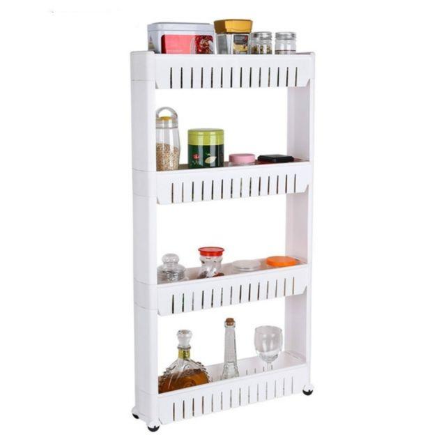 Wewoo Tablette de rangement polyvalente pour étagères de réfrigérateur de salle de bains avec roulettes amovibles blanc à quat