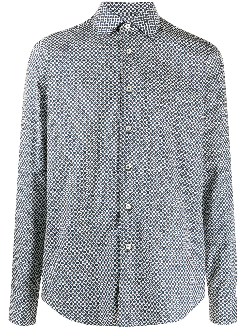 Dell'oglio Overhemd met geometrische print – Blauw