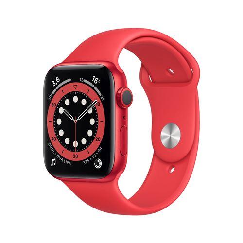 Apple Watch Series 6 GPS, 44mm boitier aluminium rouge avec bracelet sport rouge
