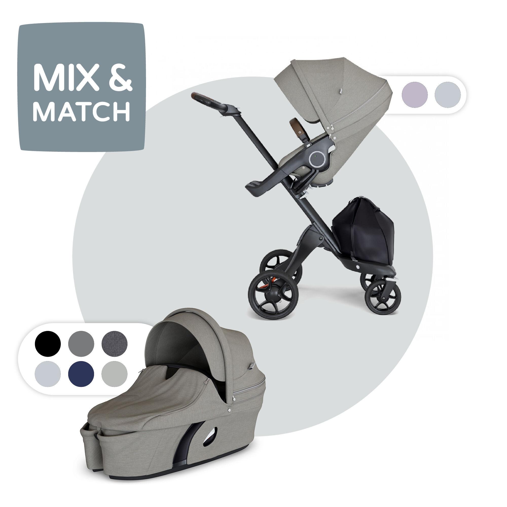 Stokke Xplory Brushed Grey complete kinderwagen +gratis luiertas en voetenzak