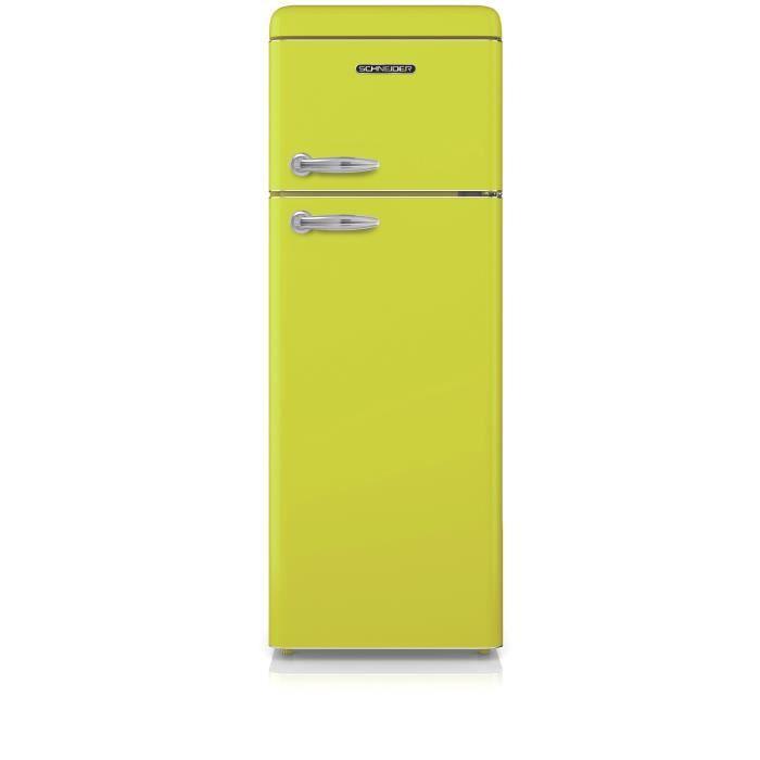 SCHNEIDER SDD208VLG – Réfrigérateur 2 Portes Vintage 208 Litres (168 Li + 40 Li) – Froid Statique – Classe A+ – Coloris Vert Citron