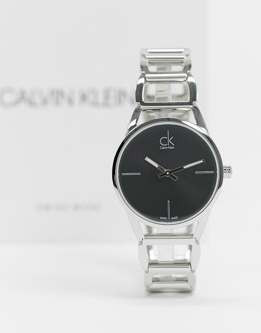 Calvin Klein – Horloge in armbandstijl met zwarte wijzerplaat