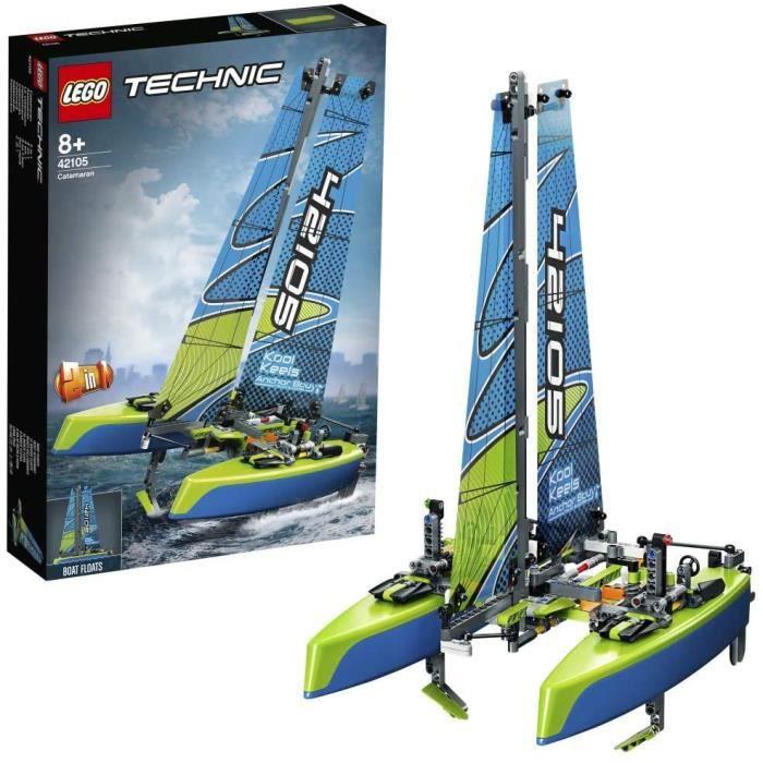 LEGO Technic Le catamaran 42105 – Kit de construction – Modèle de catamaran – Bateau flottant pour les enfants et les fans de voile
