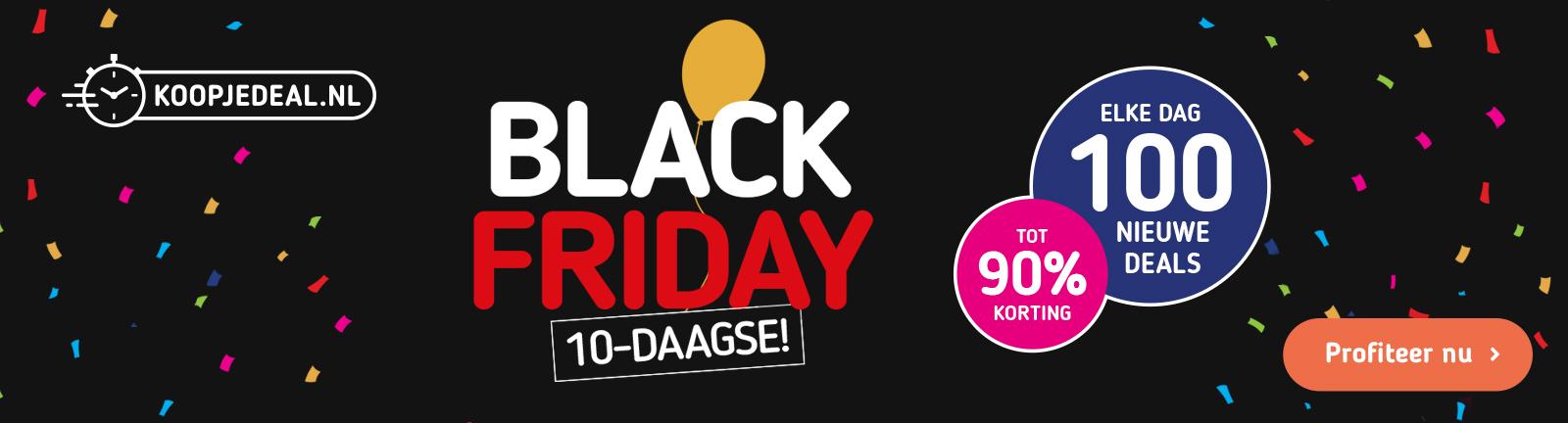 Black Friday 10-daagse tot 90% korting. Elke dag 100 nieuwe deals, profiteer nu. Koopjedeal.nl