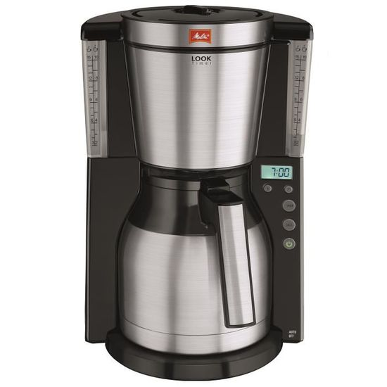 MELITTA 1011-16 Cafetière filtre programmable avec verseuse isotherme Look IV Therm Timer – Noir